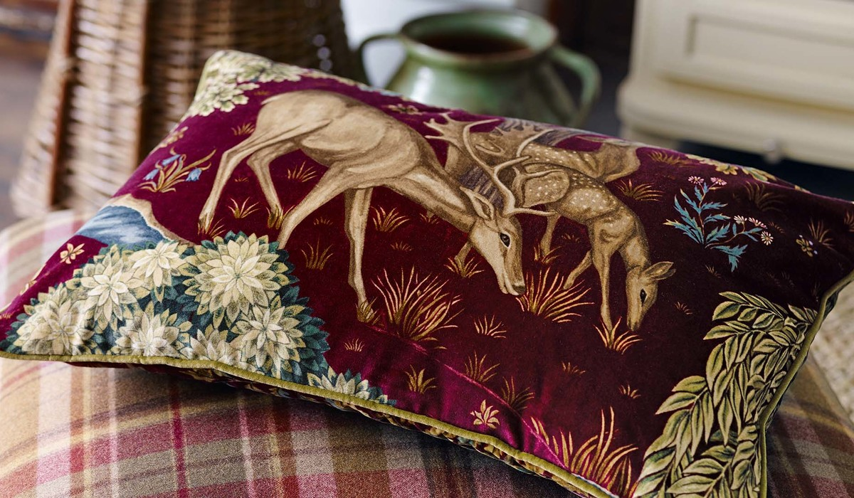 William Morris and Co The Brook velvet Fabric cushion detail dps