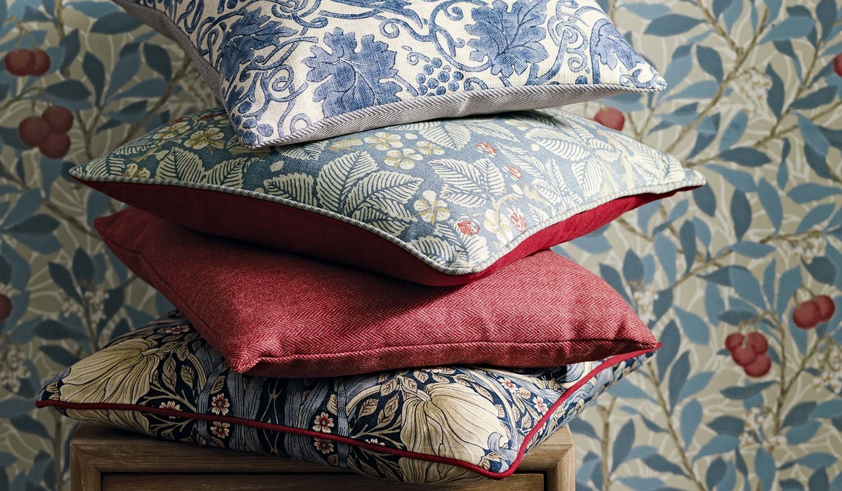 William Morris and Co Arbutus WP detail with cushions